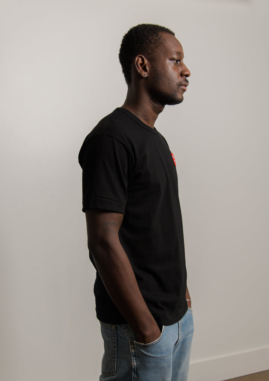 Layered Double Emblem Tee Black/Red T288