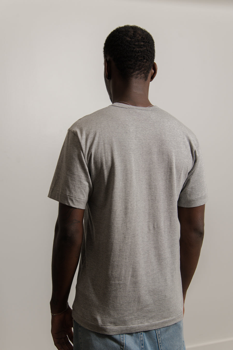 Layered Double Emblem Short Sleeve Tee Grey/Black T296