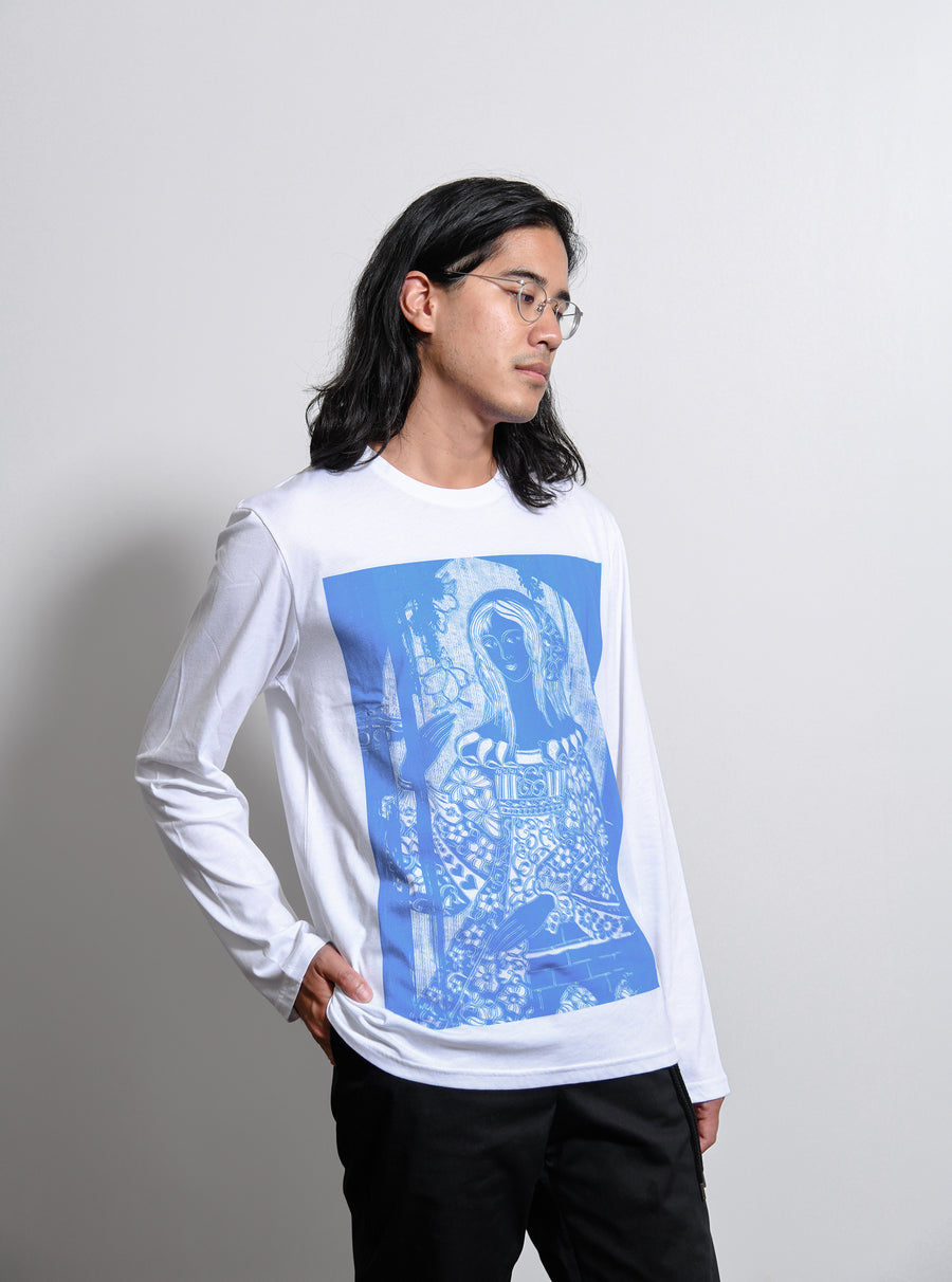 Woman Print Long Sleeve Tee White/Blue CGAW19MJETLS08