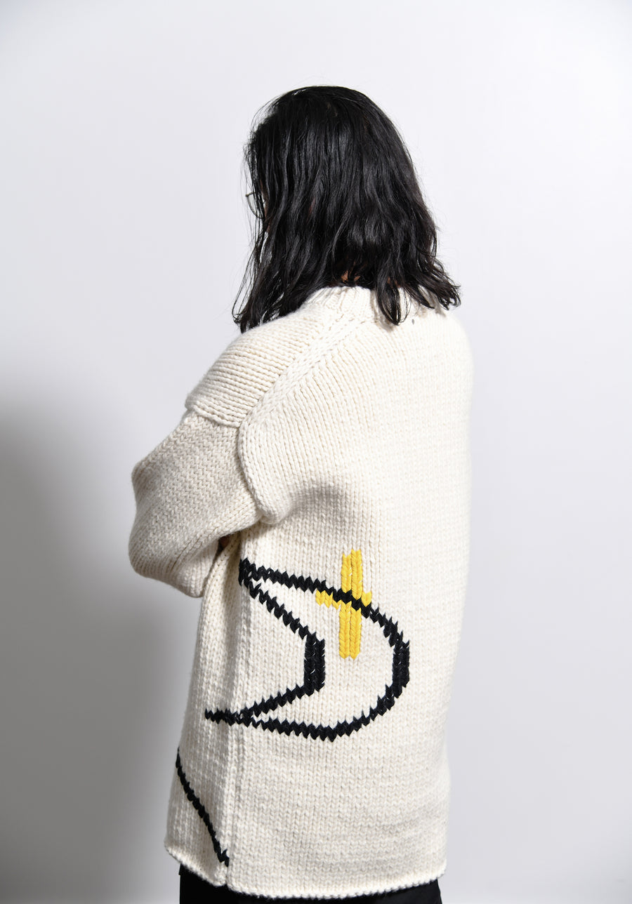 Emperor Knit Sweater Open White