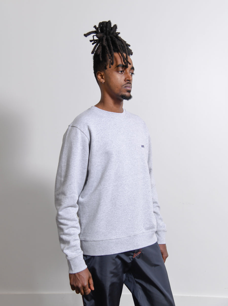 Embroidered Logo Crewneck Sweater Grey/Navy