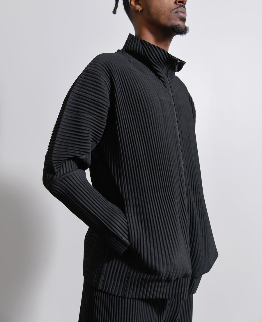Pleated Funnel Neck Zip Sweater Black JL140