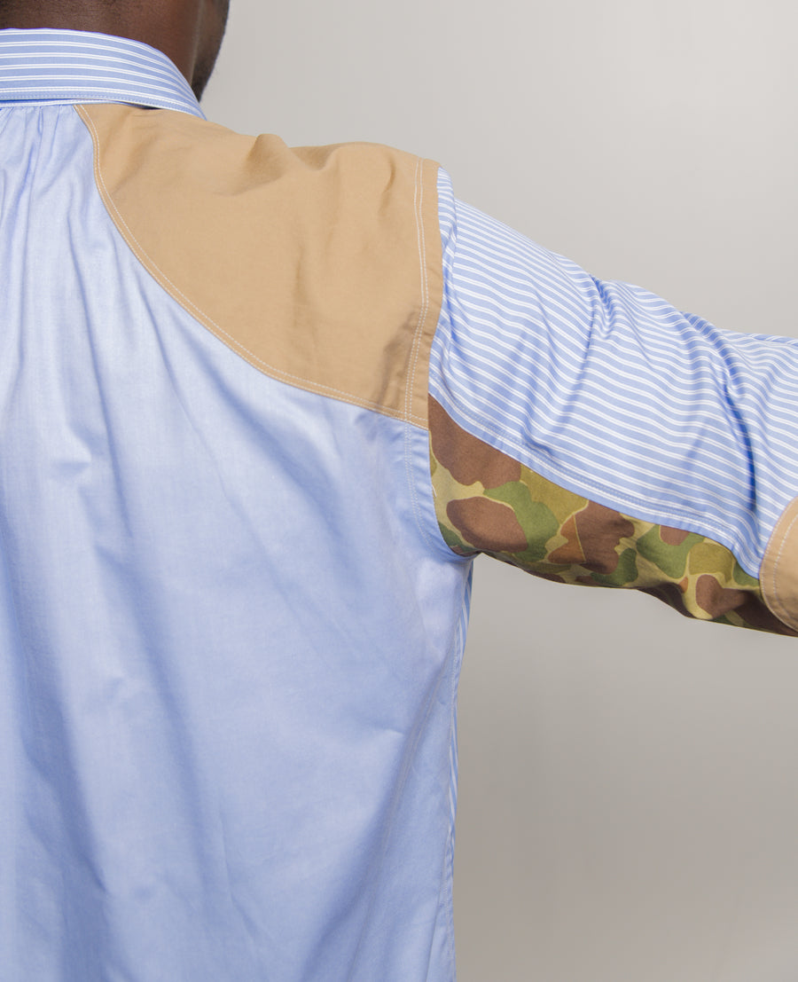 Camo Panel Shirt White/Beige B014