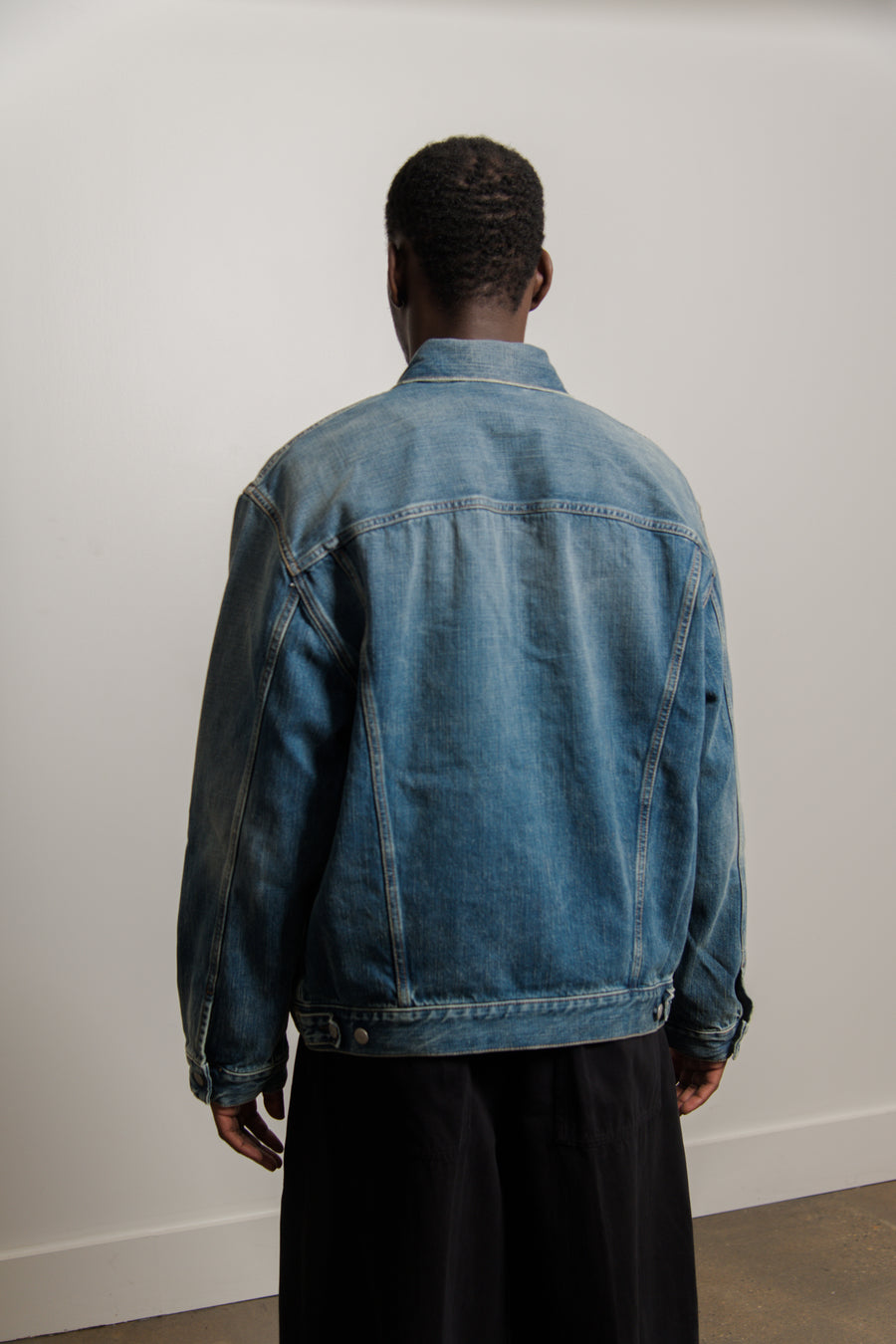 Washed Denim Jacket Mid Blue OUTW000515