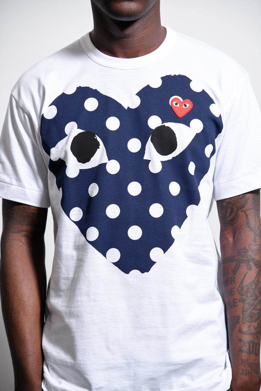 Navy Polka Dot Chest Print Red Emblem Tee White T234