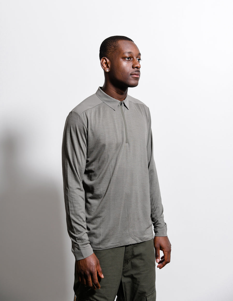 Frame Long Sleeve Polo Shirt Clay