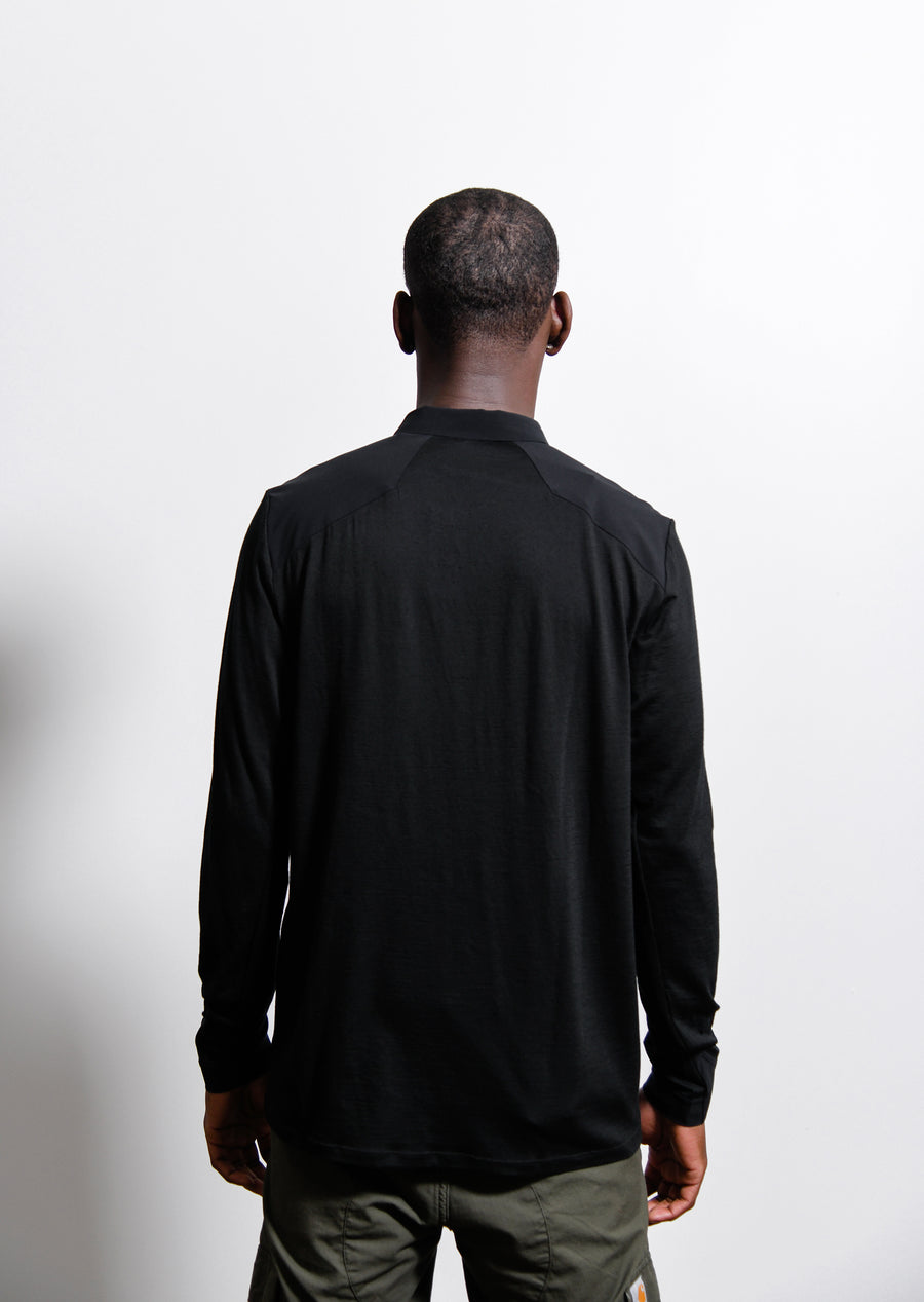 Frame Long Sleeve Polo Shirt Black