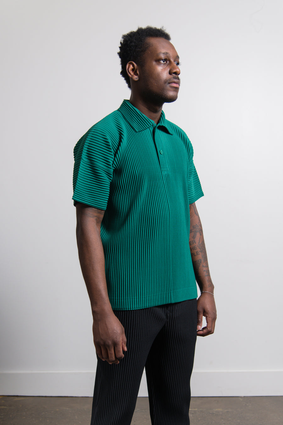 MC May Short Sleeve Pleated Polo Shirt Viridian Green JM127