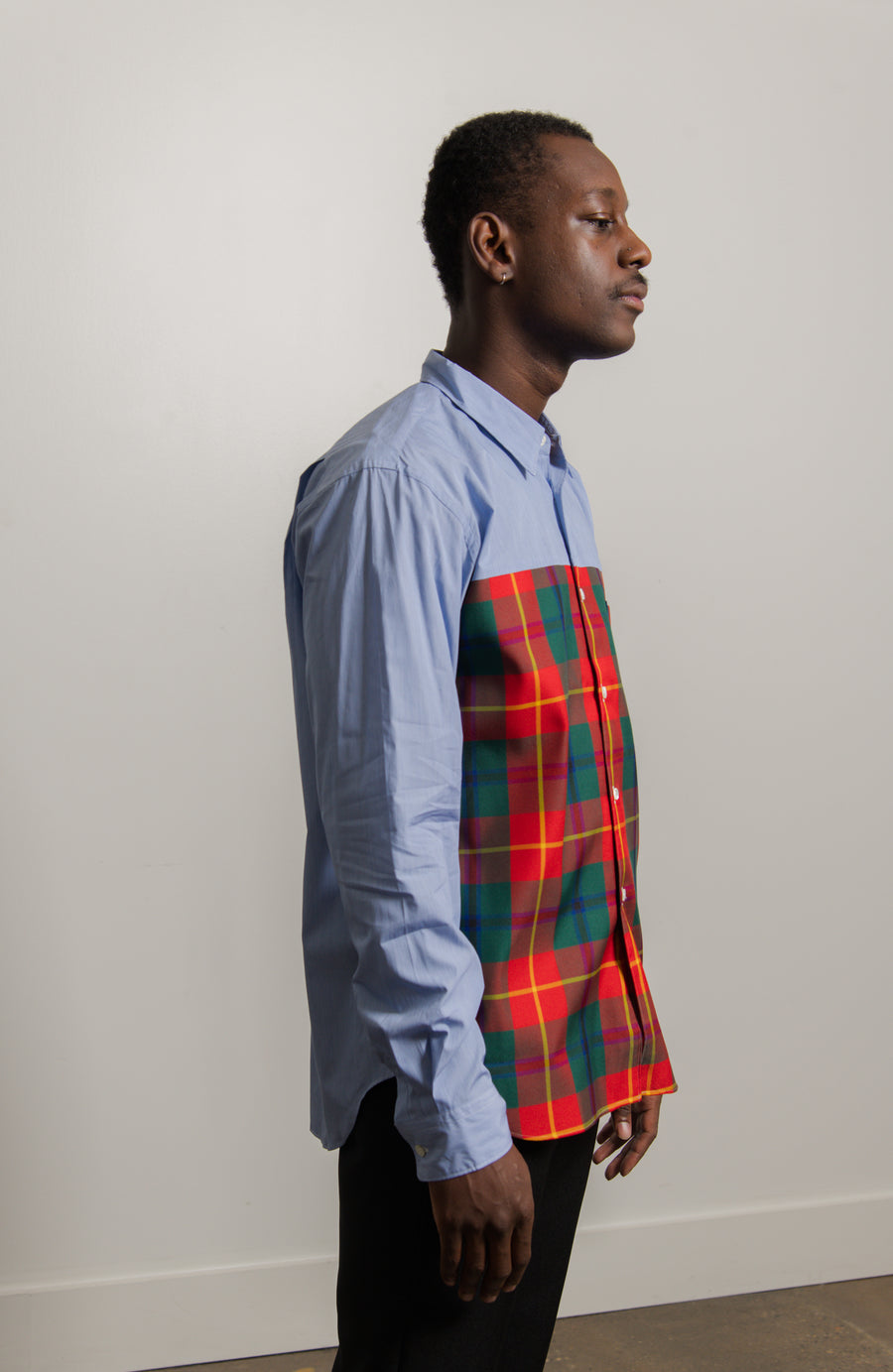 Chambray Tartan Shirt Blue/Red/Green B011