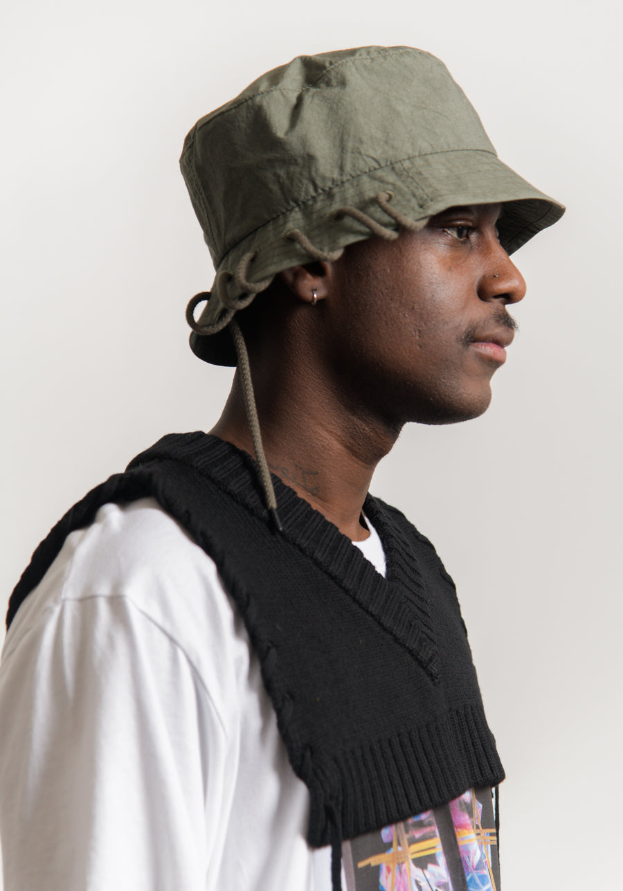 Laced Bucket Hat Olive