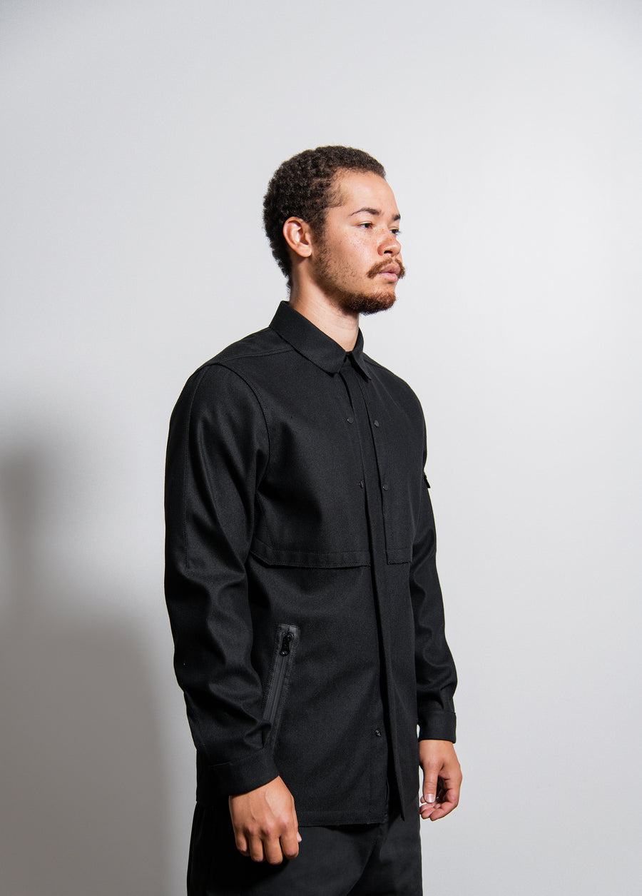 Q0101 SW 3L Vented Raw Edge Overshirt Black