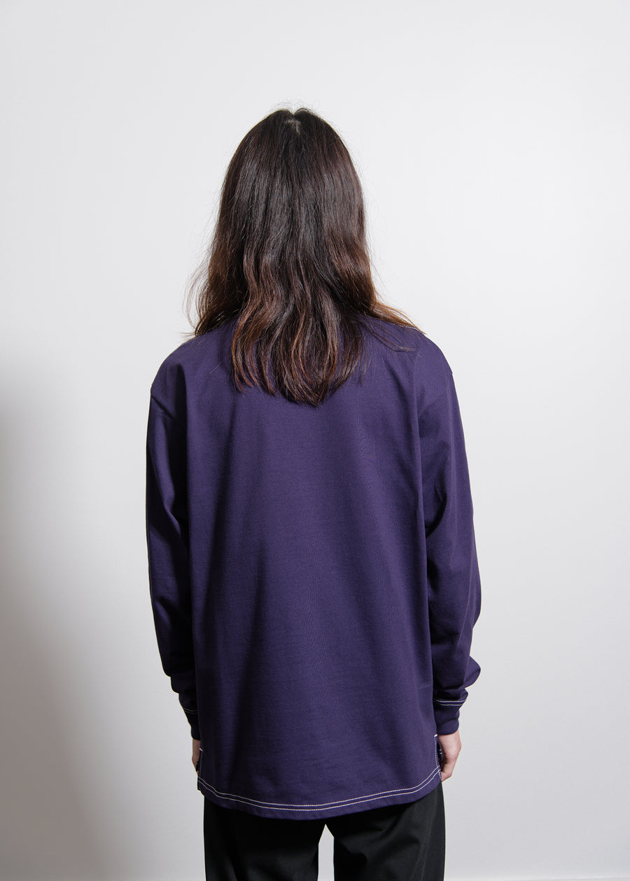 Long Sleeve Nebraska Tee Royal Violet/White