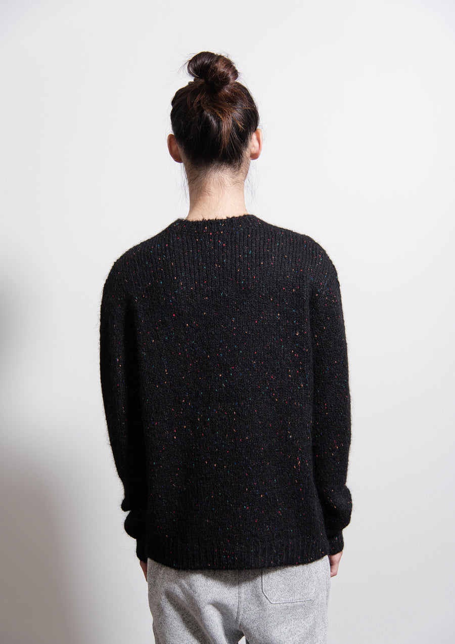 Colour Nep Drop Shoulder Crewneck Sweater Black