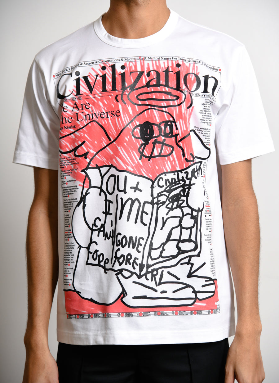 Civilization Print Tee White/Red T003