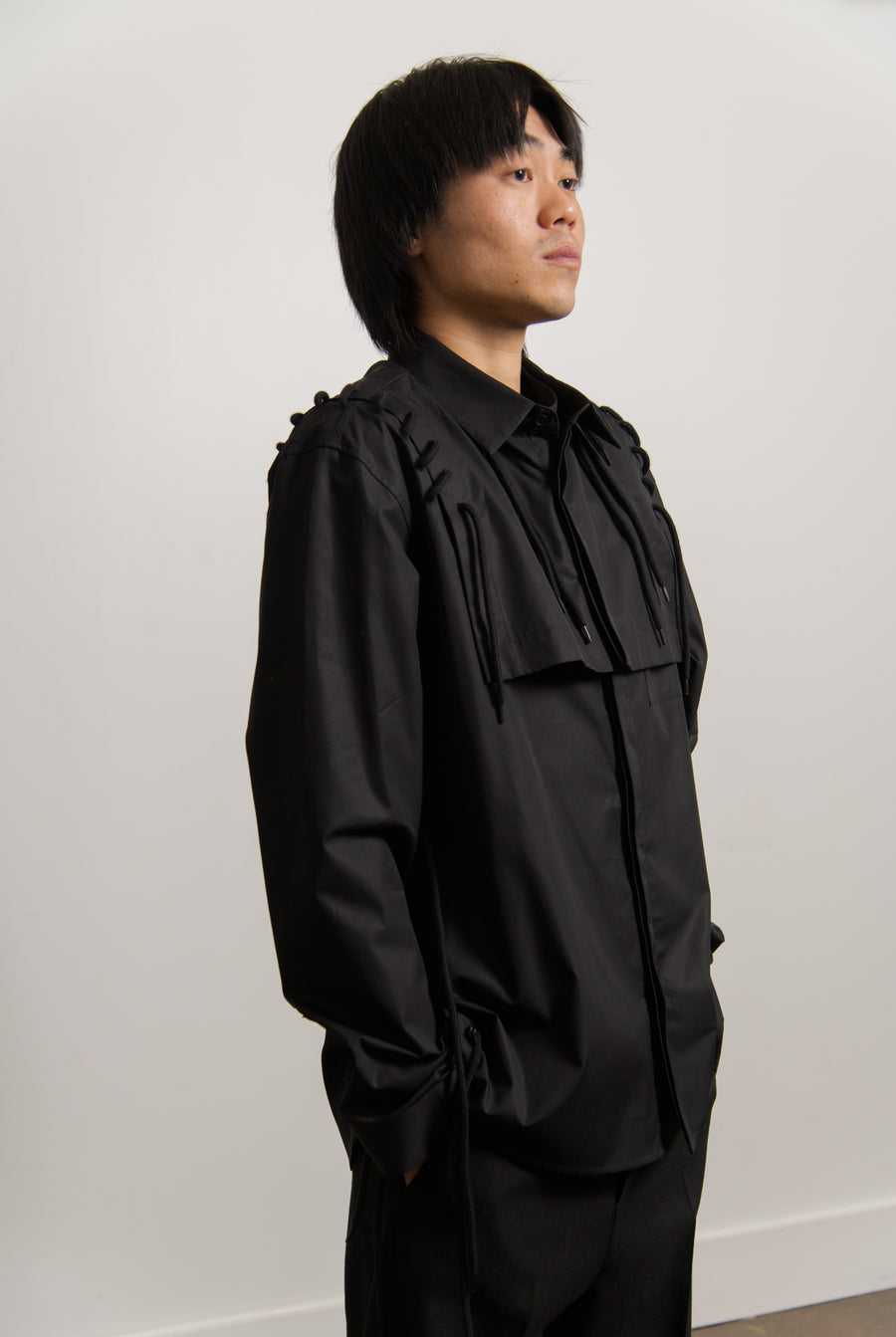 Fold Laced Shirt Black
