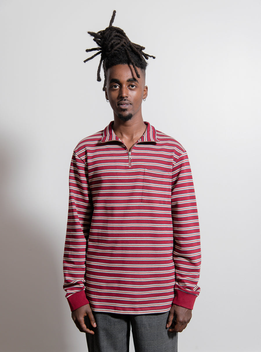Half-Zip Stripe Sweater Brick Red