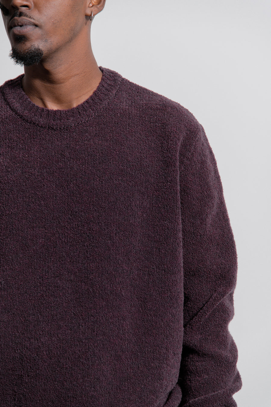Drop Shoulder Knit Boucle Sweater Aubergine