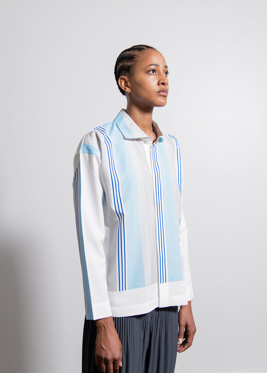 Stripe Press Shirt Blue/White