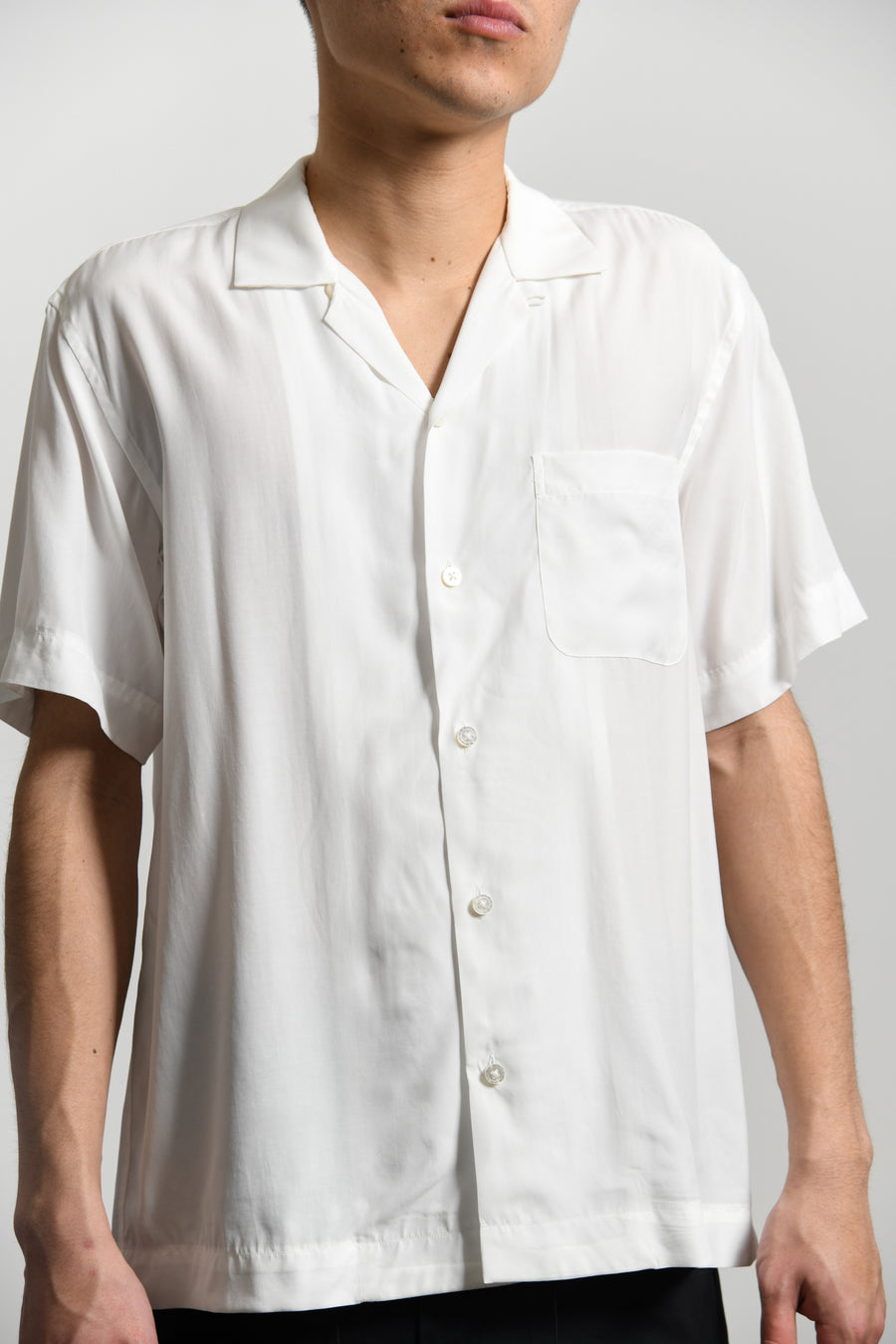 Watteau Pleats Hawaiin Shirt White