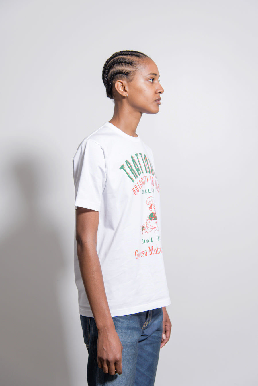 Trattoria High Density Jersey Print Tee White/Green/Red