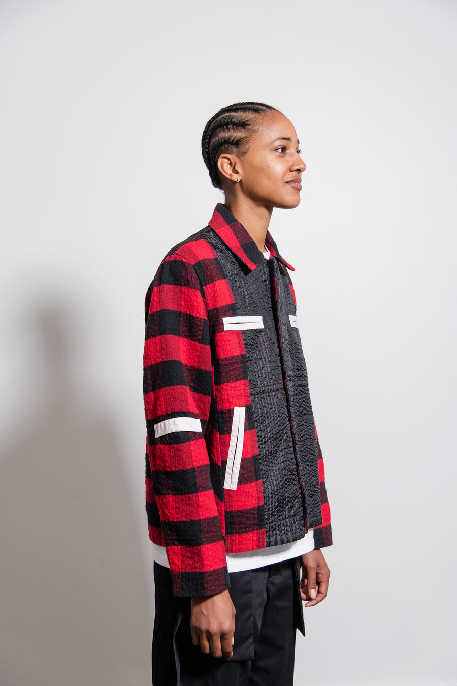 Plaid Worker Jacket Red