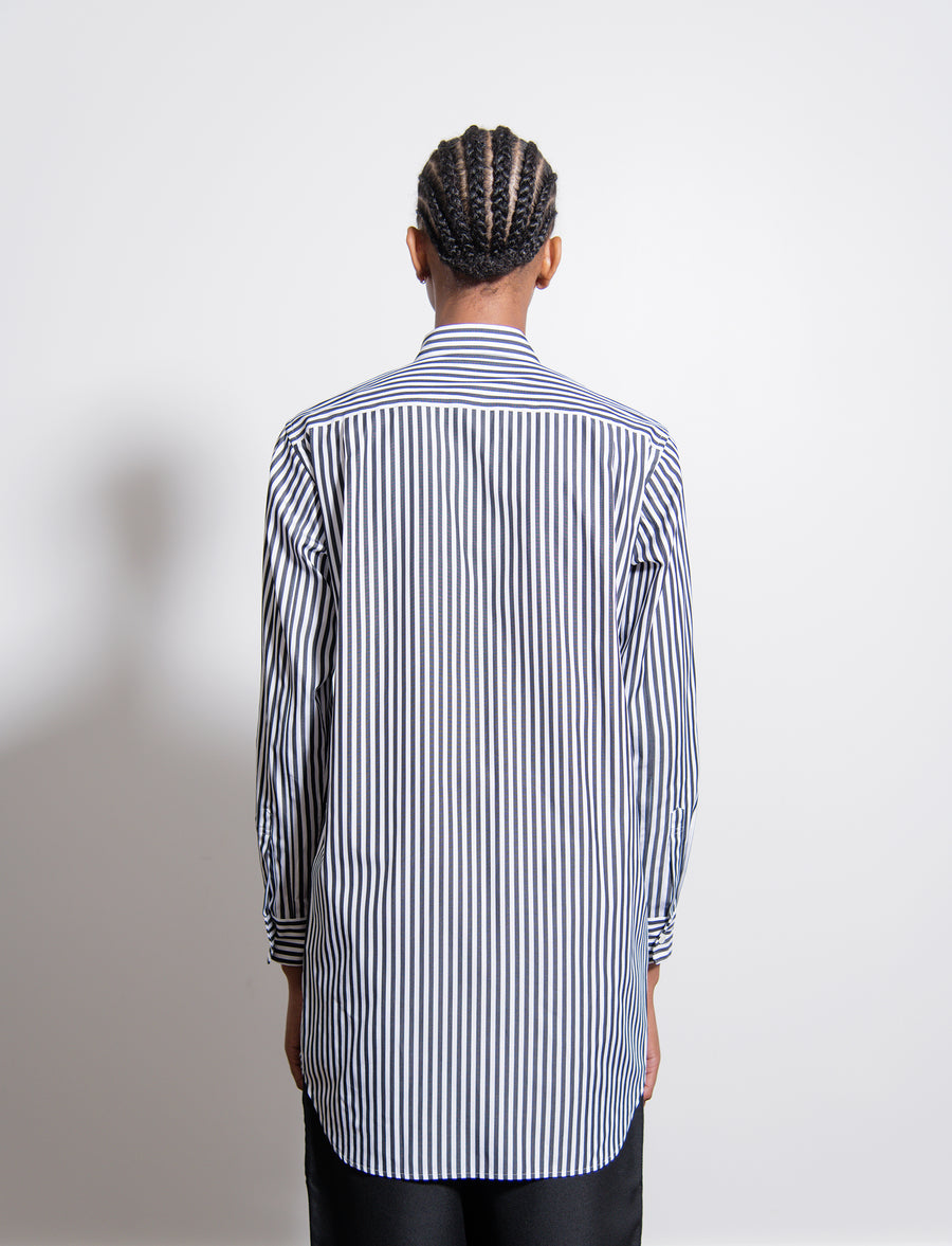 Cotton Broad Stripe Crashed Velour Shirt Black
