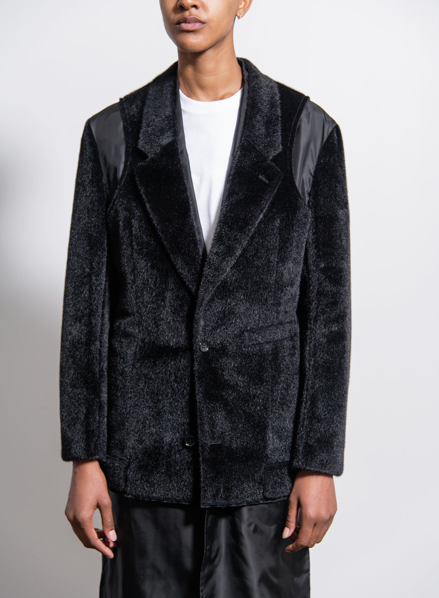 Polyester Nylon Synthetic Fur Cupro Twill Coat Black