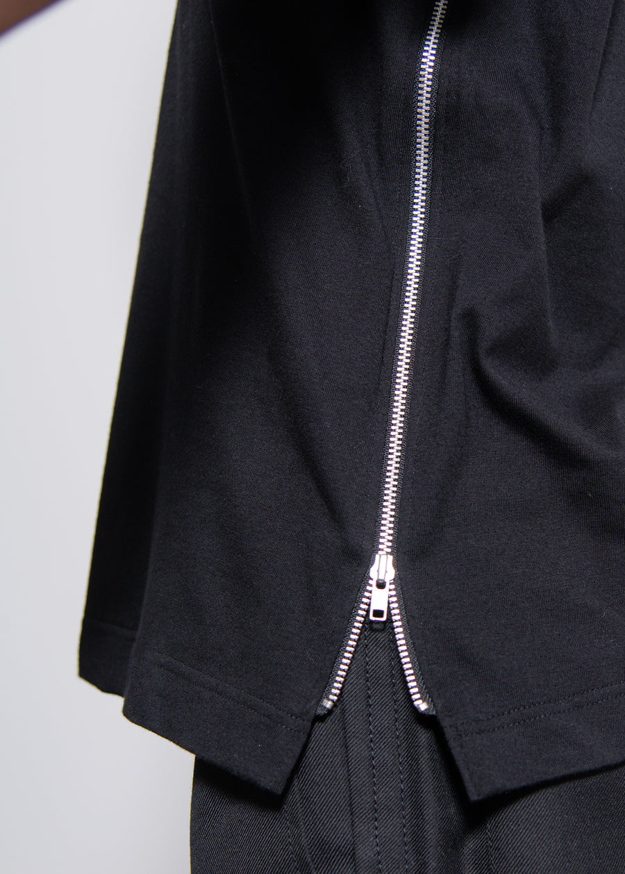 Side-Zip Tee Black