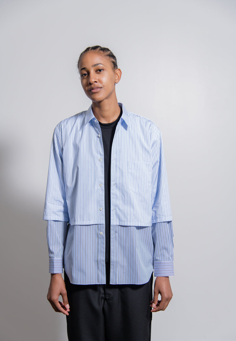 Dual Cotton Stripe Poplin Shirt White/Light Blue