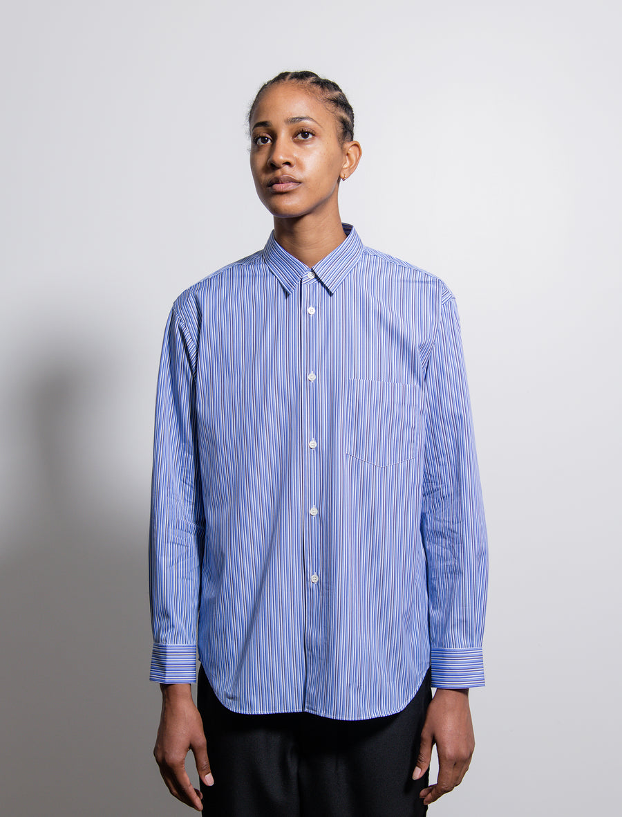 Back-Zip Stripe Shirt Blue/White