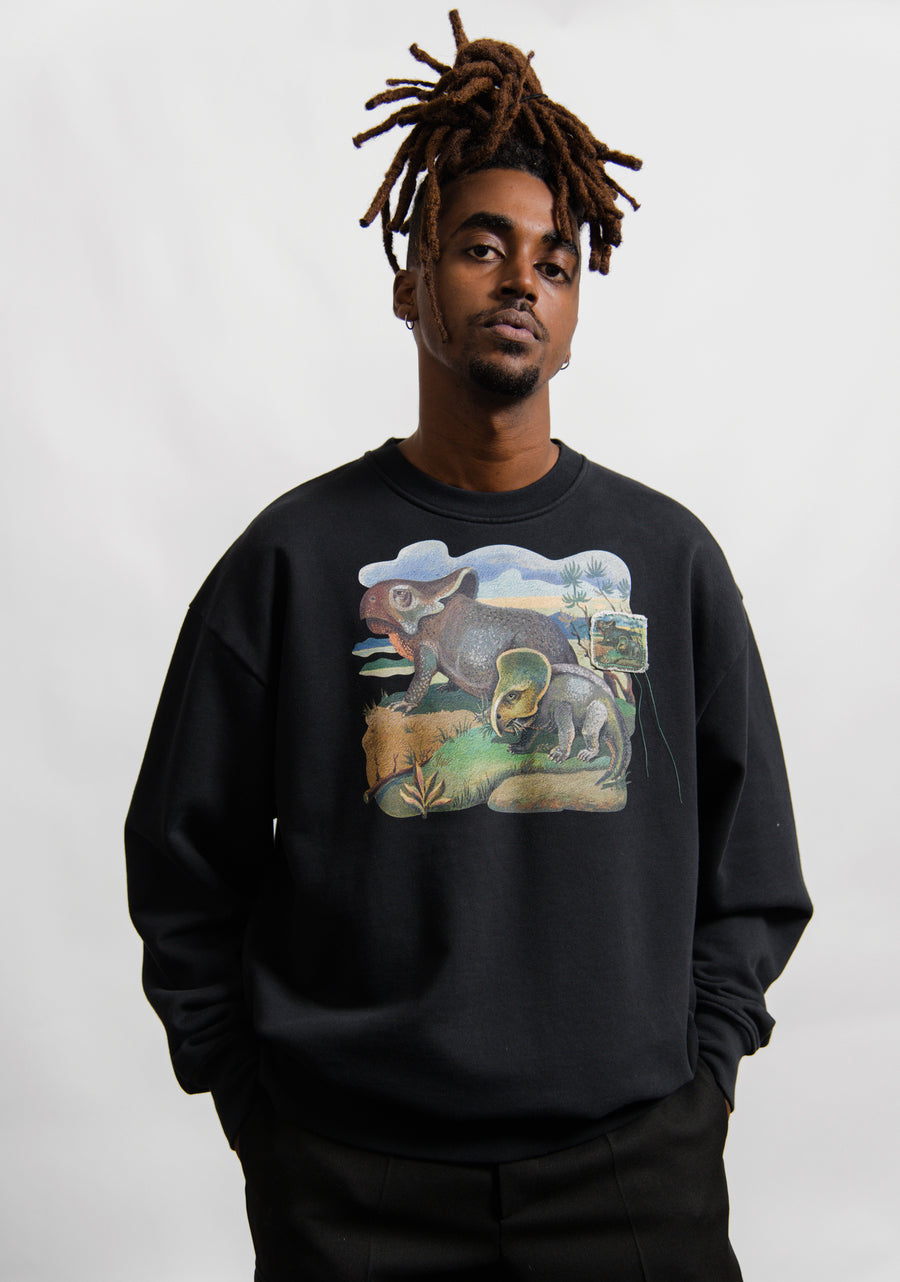 Dinosaur Crewneck Sweater Black SWEA000160