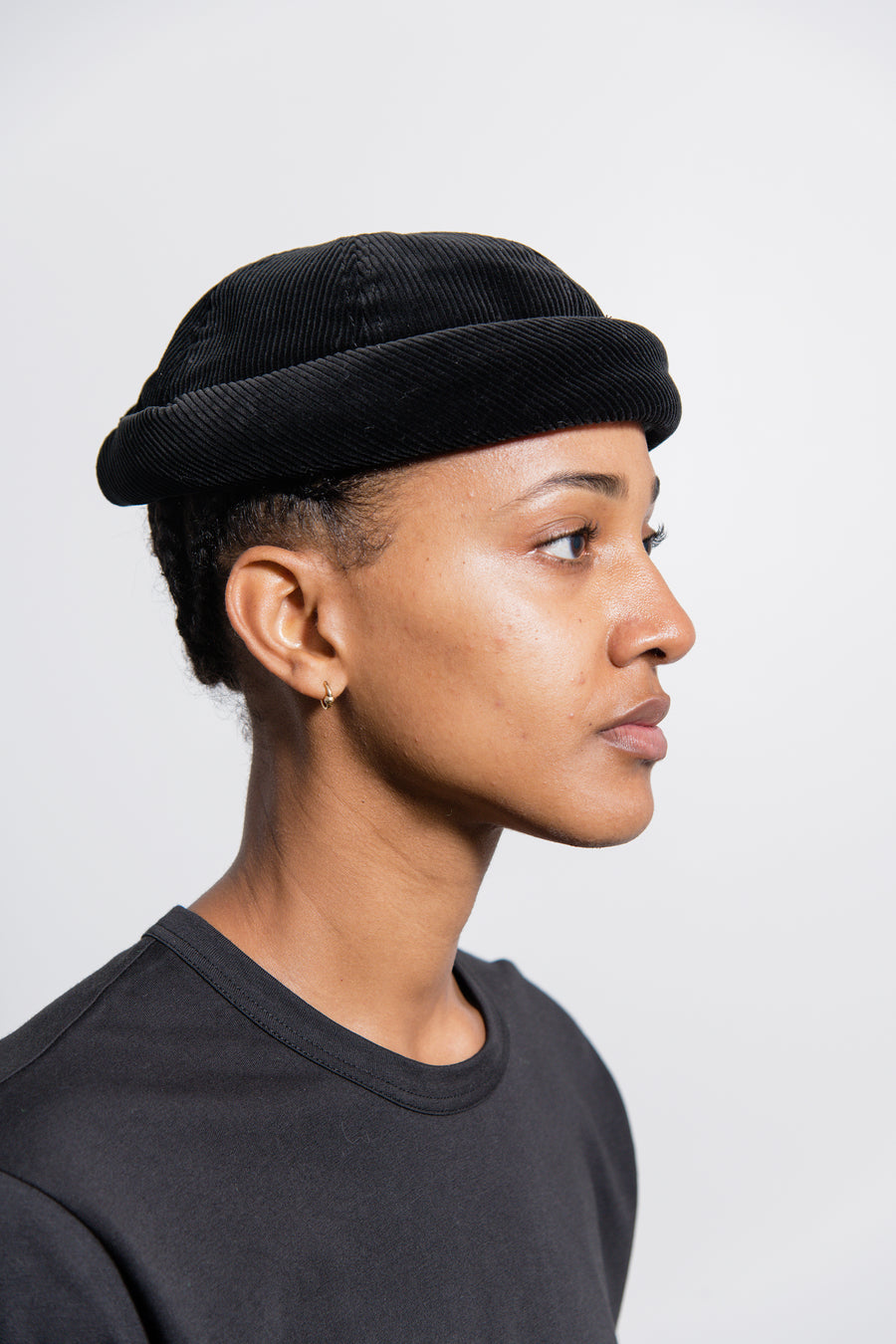 Cotton Corduroy Beton Cire Hat Black