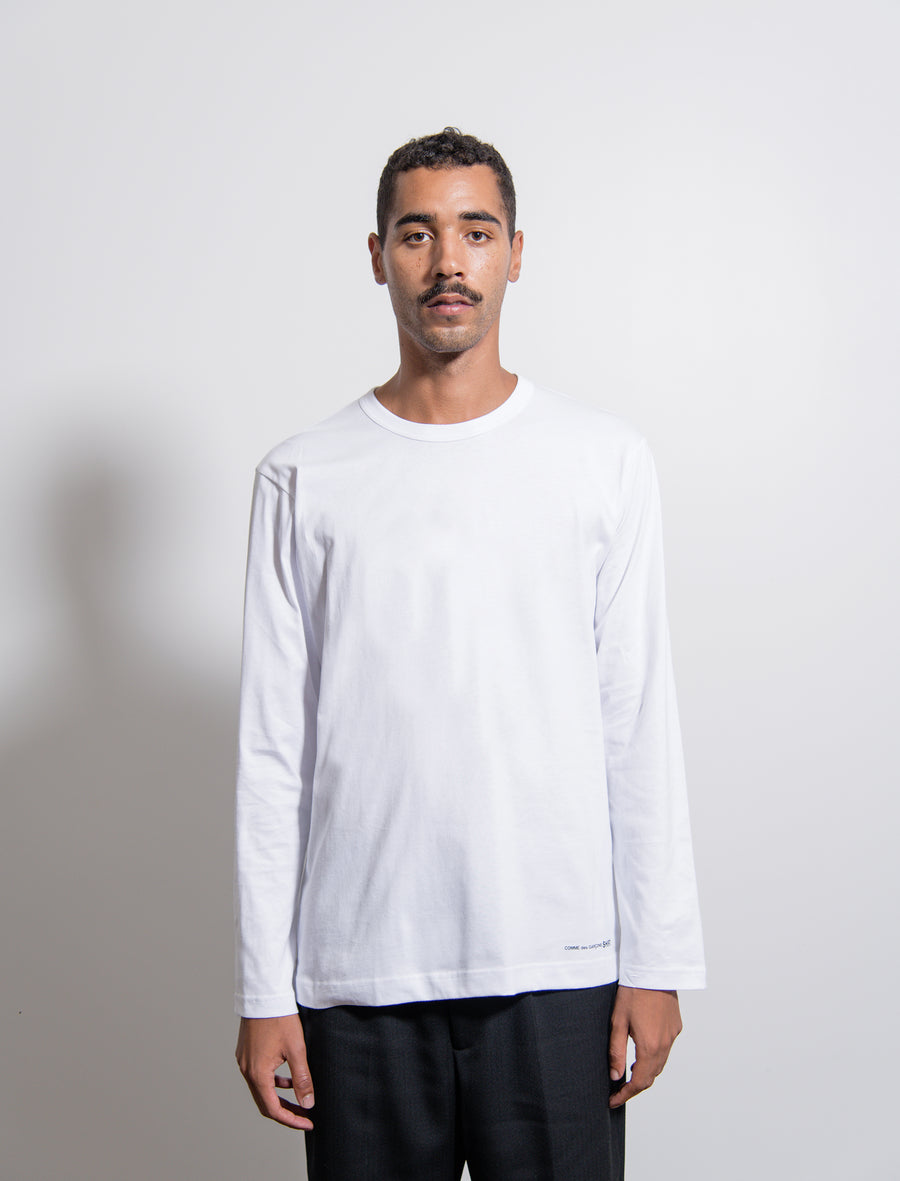 Long Sleeve Logo Tee White