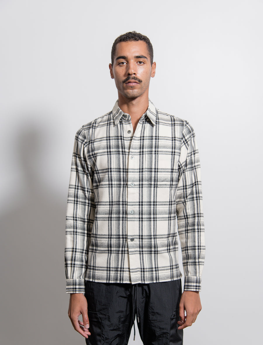 Straight Hem Shirt Ivory/Black Plaid
