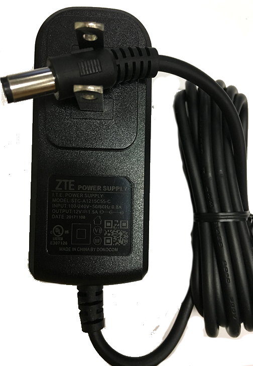 ZTE MF288/MF279(T)/MF275(R) Power Supply 12V 1.5A - DF Computer Centre - (ZTE service Centre)