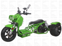 Green MADDOG TRIKE 50CC(PST50-19N)...50cc, Air Cooled, Single Cylinder, 4-Stroke, 12 inches Front Wheel, 14 inches Rear Wheel, Front/Rear Disc Brake