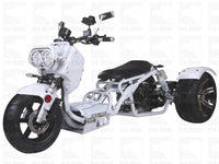 White MADDOG TRIKE 50CC(PST50-19N)...50cc, Air Cooled, Single Cylinder, 4-Stroke, 12 inches Front Wheel, 14 inches Rear Wheel, Front/Rear Disc Brake