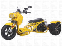 Yellow MADDOG TRIKE 50CC(PST50-19N)...50cc, Air Cooled, Single Cylinder, 4-Stroke, 12 inches Front Wheel, 14 inches Rear Wheel, Front/Rear Disc Brake