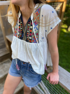 Boho Embroidered Top