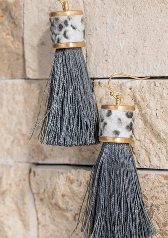 Snake Print Leather Gray Tassel Earrings