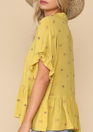 Lemon Drop Embroidered Ruffle Top