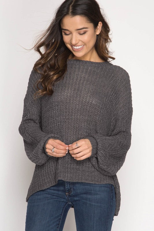 Kristy Crisscross Charcoal Gray Sweater