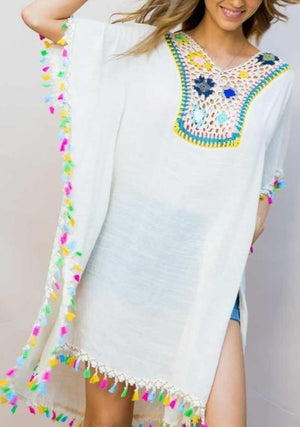 Chicly Crocheted Tassel Poncho