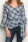 Patricia Bell Sleeve Wrap Around Plaid Top