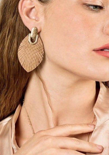 Genuine Leather Snake Print Earrings