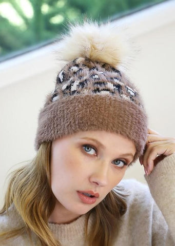 Leopard Print Faux Fur Pom Pom Beanie Hat ~FINAL SALE
