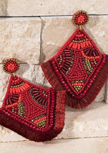 Scarlet Beaded Tassel Earrings