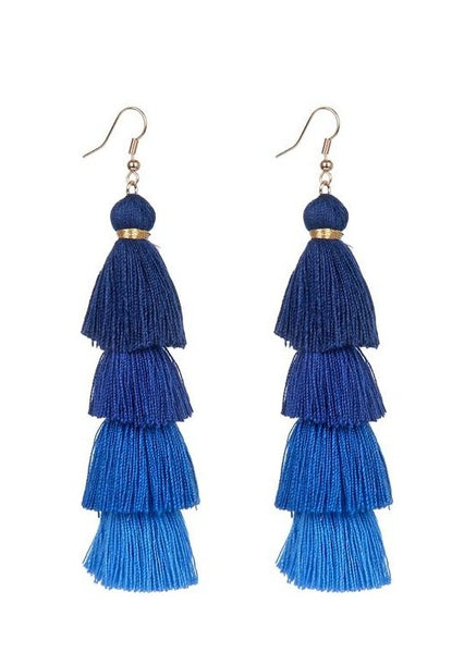 Blue Tiered Tassel Earrings