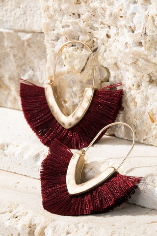 Hammered Metal Burgundy Tassel Hoop Earrings