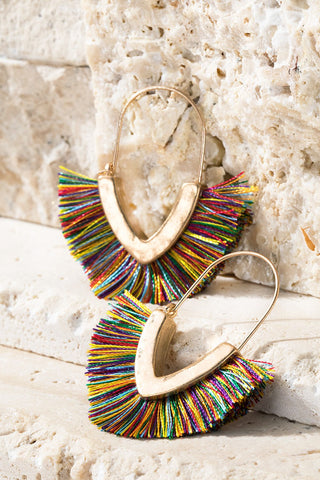 Hammered Metal Multi-Color Tassel  Hoop Earrings